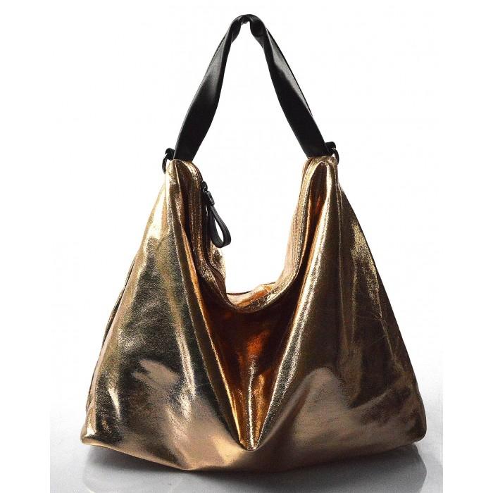819a7833f7 moderní lesklá bronzová kabelka na rameno erin - KabelkyZeSveta