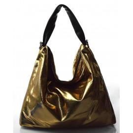 moderní lesklá zlatá kabelka na rameno erin