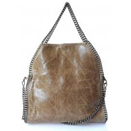 Kožená luxusní béžová kabelka přes rameno brigite