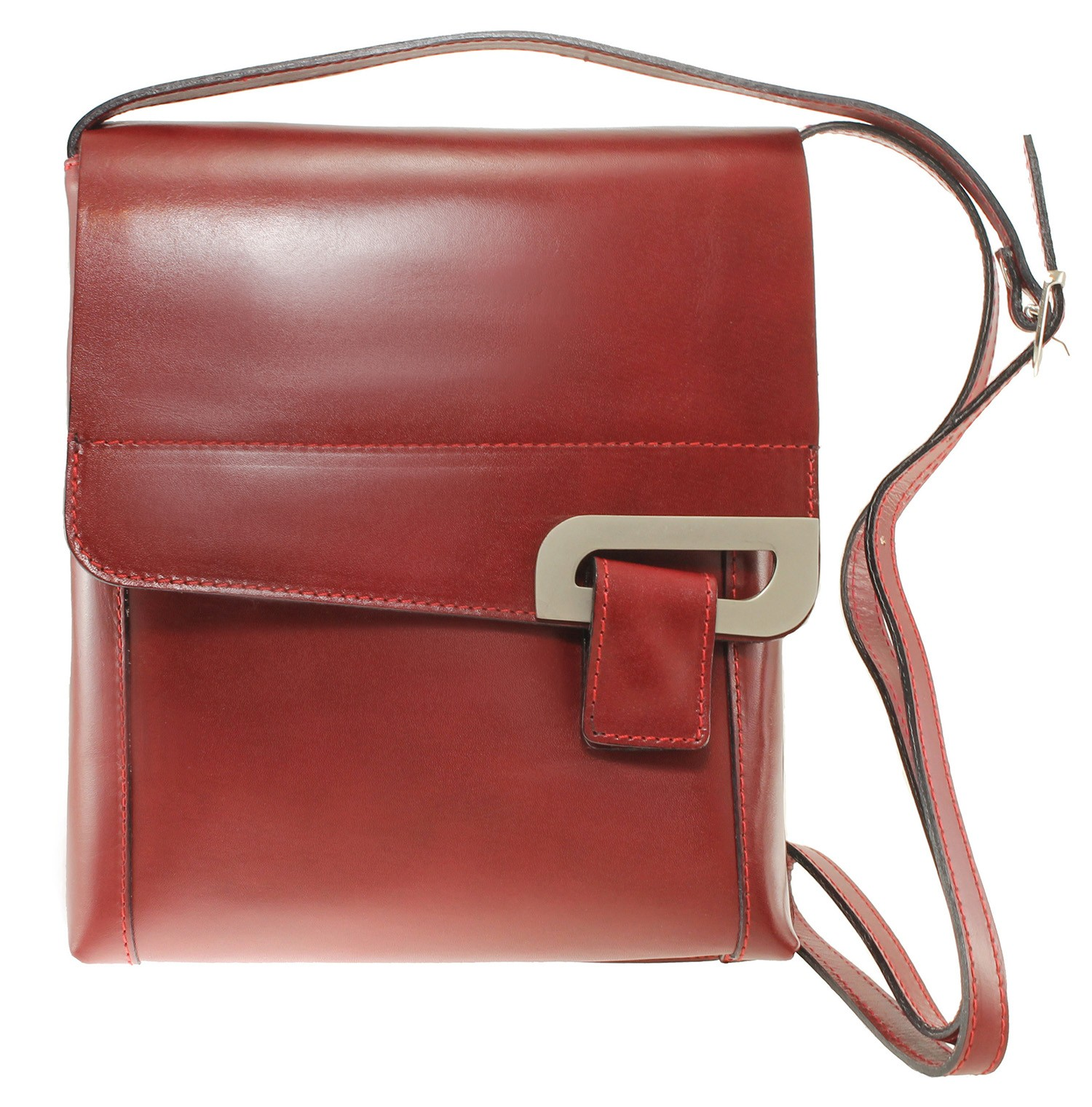 kožená menší unisex červená bordó crossbody kabelka na rameno Jorge