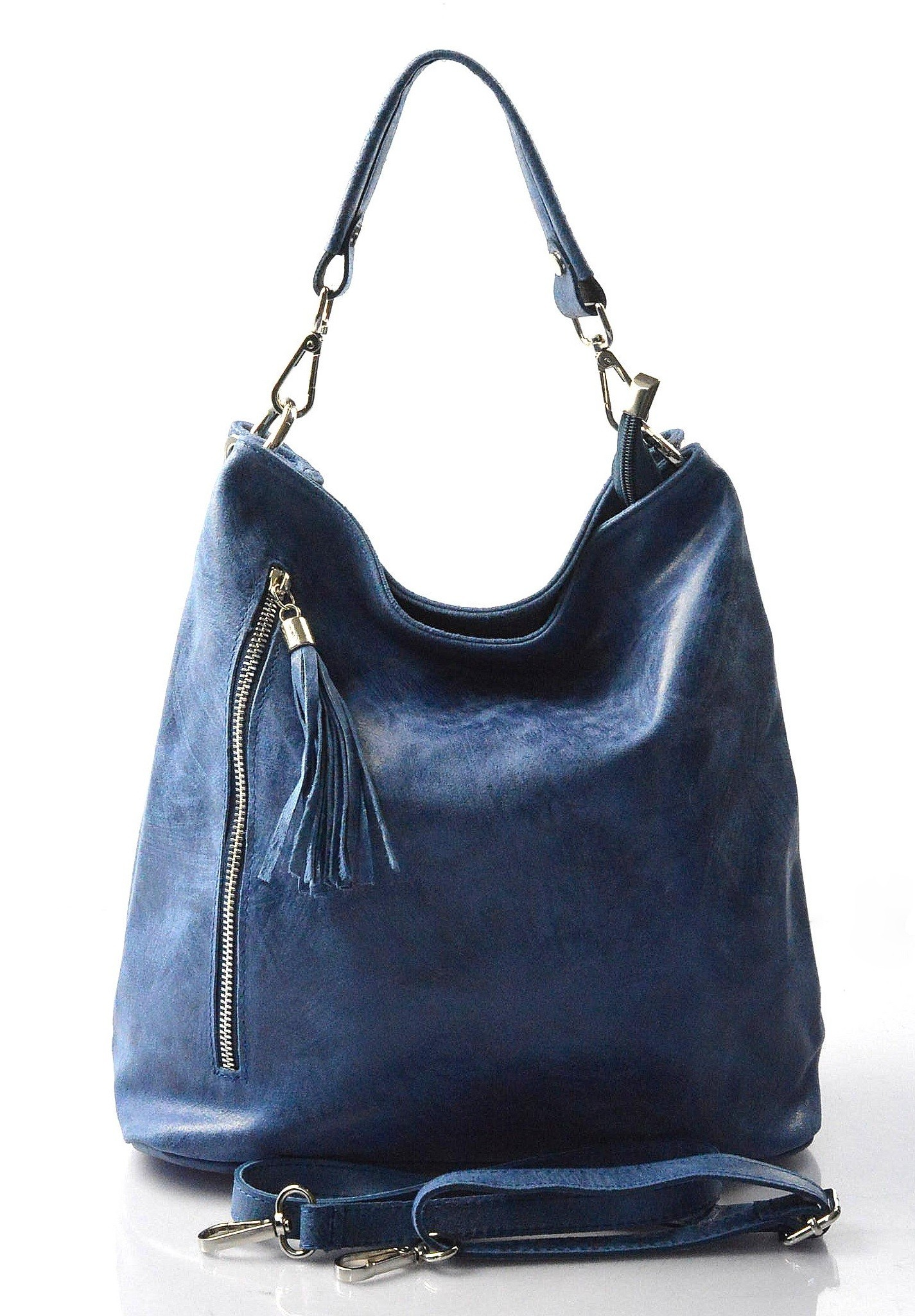 Kožená modrá crossbody kabelka na rameno galine