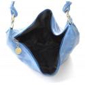 Kožená světle jeansová modrá modrá taška na rameno relic
