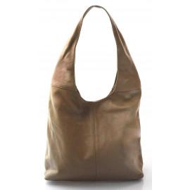Kožená béžová taška na rameno feris