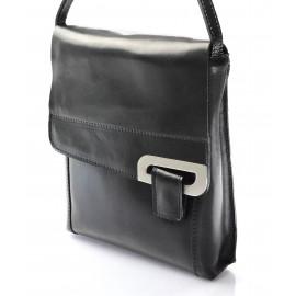 kožená menší unisex černá crossbody kabelka na rameno Jorge