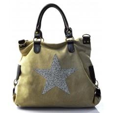 stylová moderní světle khaki hnědá taška na rameno military two