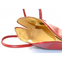 Kožená sytě červená kabelka do ruky agi
