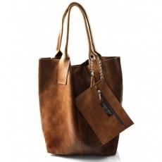 Kožená tmavší hnědá taška na rameno melani