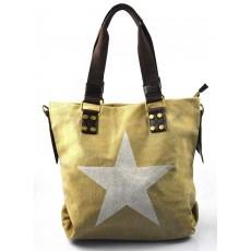 stylová moderní písková hnědá taška na rameno military three