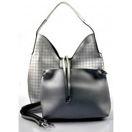 luxusní tmavší stříbrná kabelka 2v1 nanci two