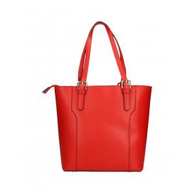 Kožená moderní vysoká červená kabelka na rameno carine