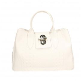 Větší moderní sněhově bílá kožená kabelka do ruky Lila