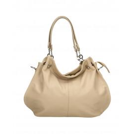Kožená luxusní béžová beige crossbody kabelka do ruky i přes rameno lorreine
