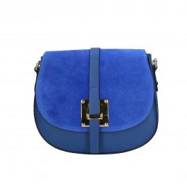 Kožená menší sytě modrá crossbody kabelka na rameno jordane