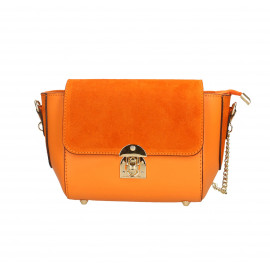 Kožená menší oranžová crossbody kabelka na rameno leone