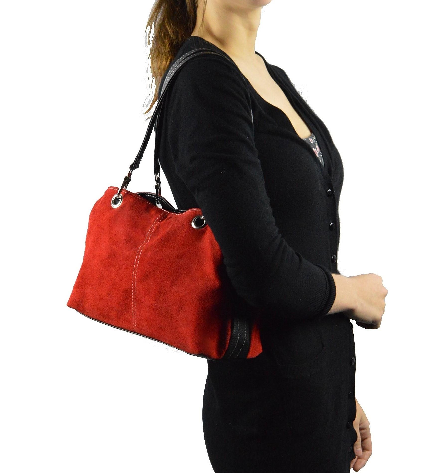 Kožená menší červená bordó taška na rameno lil two