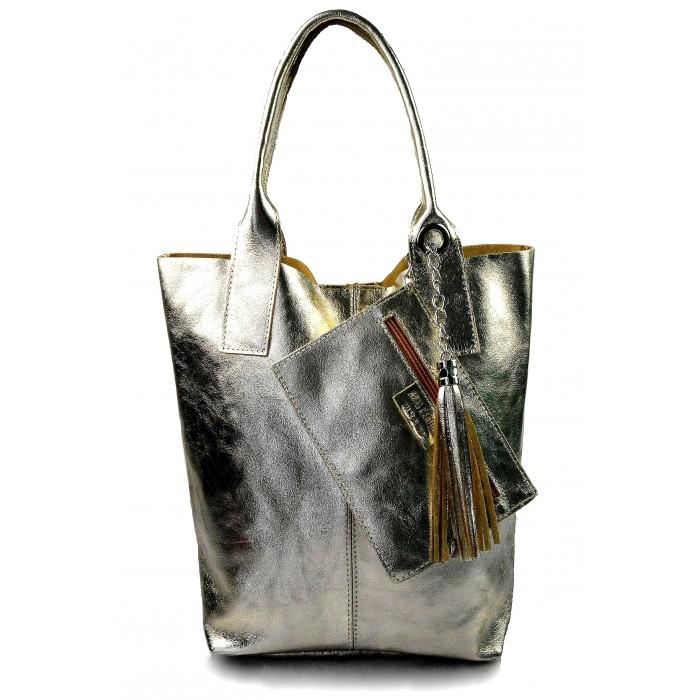 Kožená zlatá lesklá shopper taška na rameno melani summer