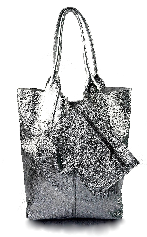 Kožená stříbrná lesklá shopper taška na rameno melani summer