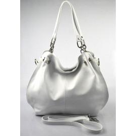 Jedinečná luxusní sněhově bílá kožená kabelka přes rameno Lorreine
