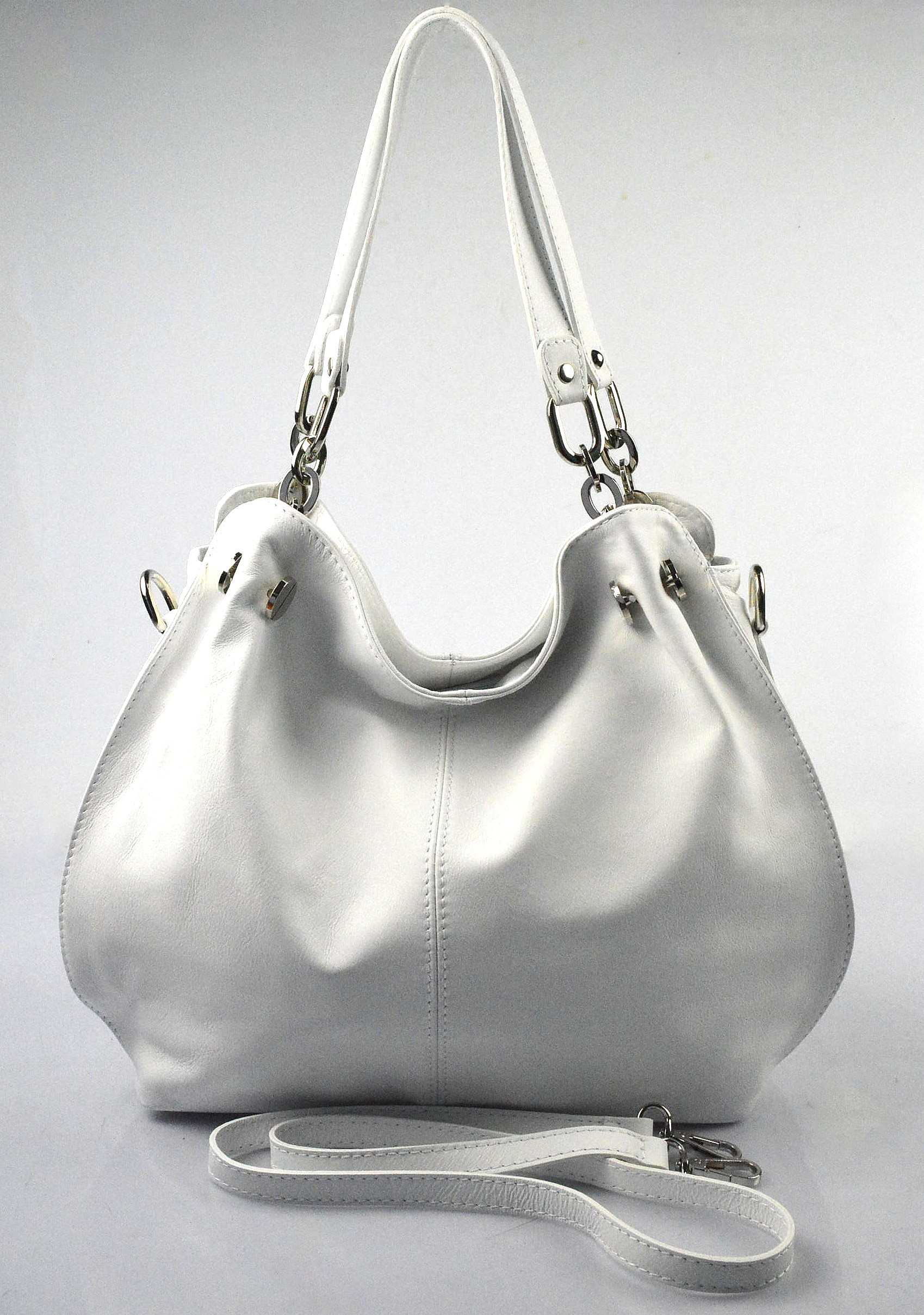 Kožená luxusní sněhově bílá crossbody kabelka do ruky i přes rameno lorreine