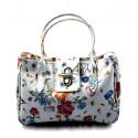 Kožená luxusní menší bílá květinová kabelka do ruky lila little