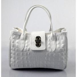 Menší moderní sněhově bílá kožená kabelka do ruky Lila Little