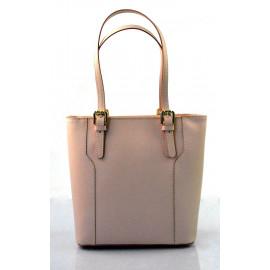Kožená moderní vysoká světle růžová kabelka na rameno carine