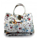Kožená luxusní bílá květinová kabelka do ruky lila