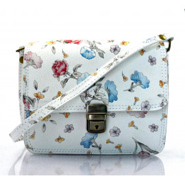 Kožená bílá květinová crossbody kabelka na rameno cailee