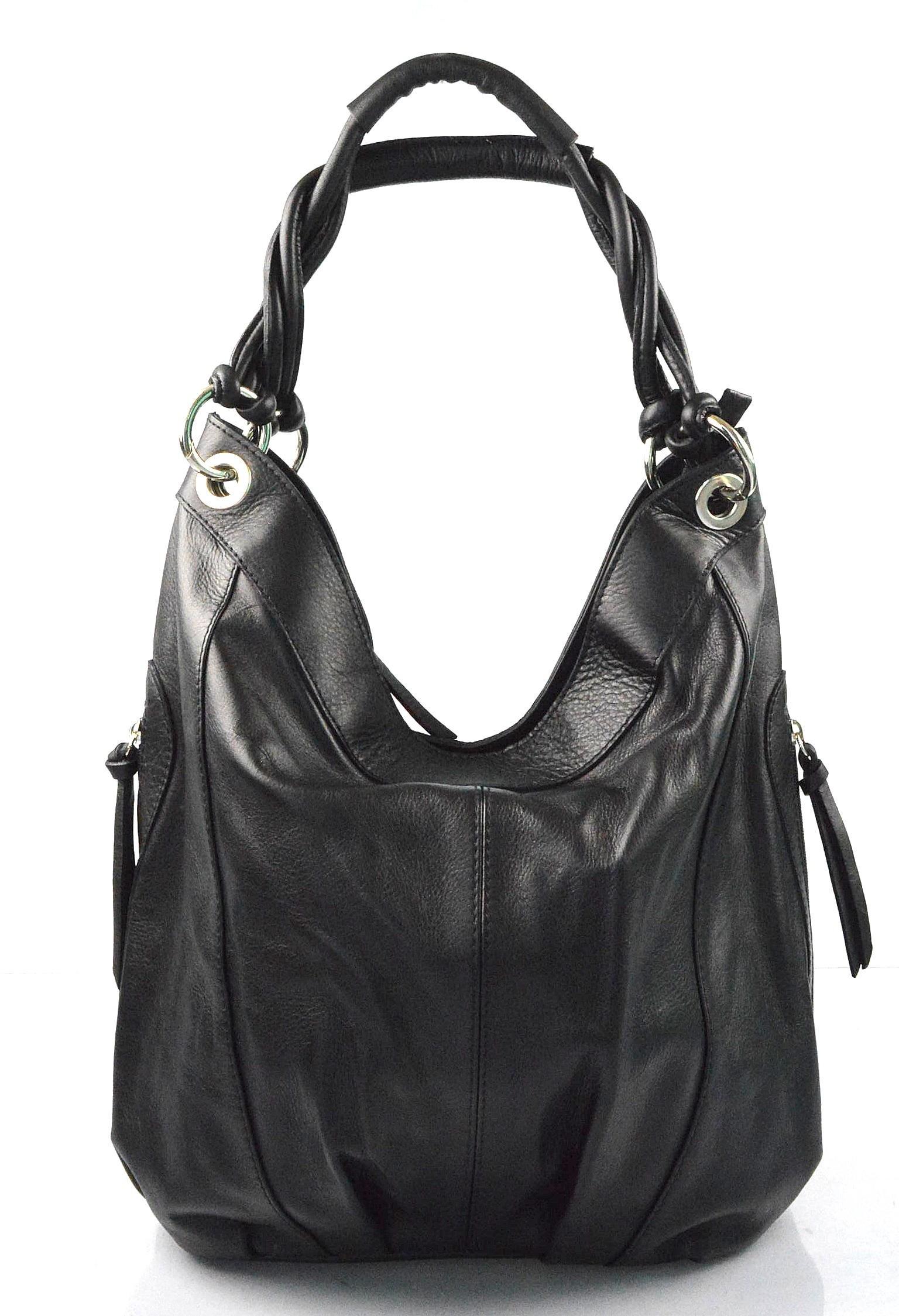 Kožená černá velká taška na rameno adele