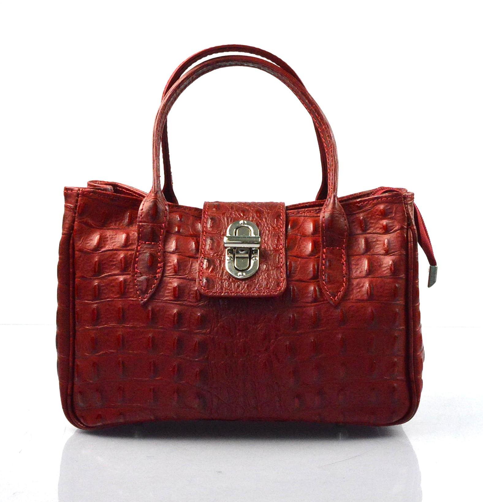 Kožená luxusní menší červená bordó kabelka do ruky lila little