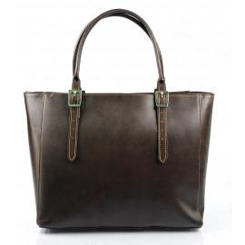 Kožená luxusní velká tmavě hnědá kabelka Havelan