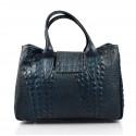 Kožená luxusní krokodýlí tmavě modrá kabelka do ruky lila