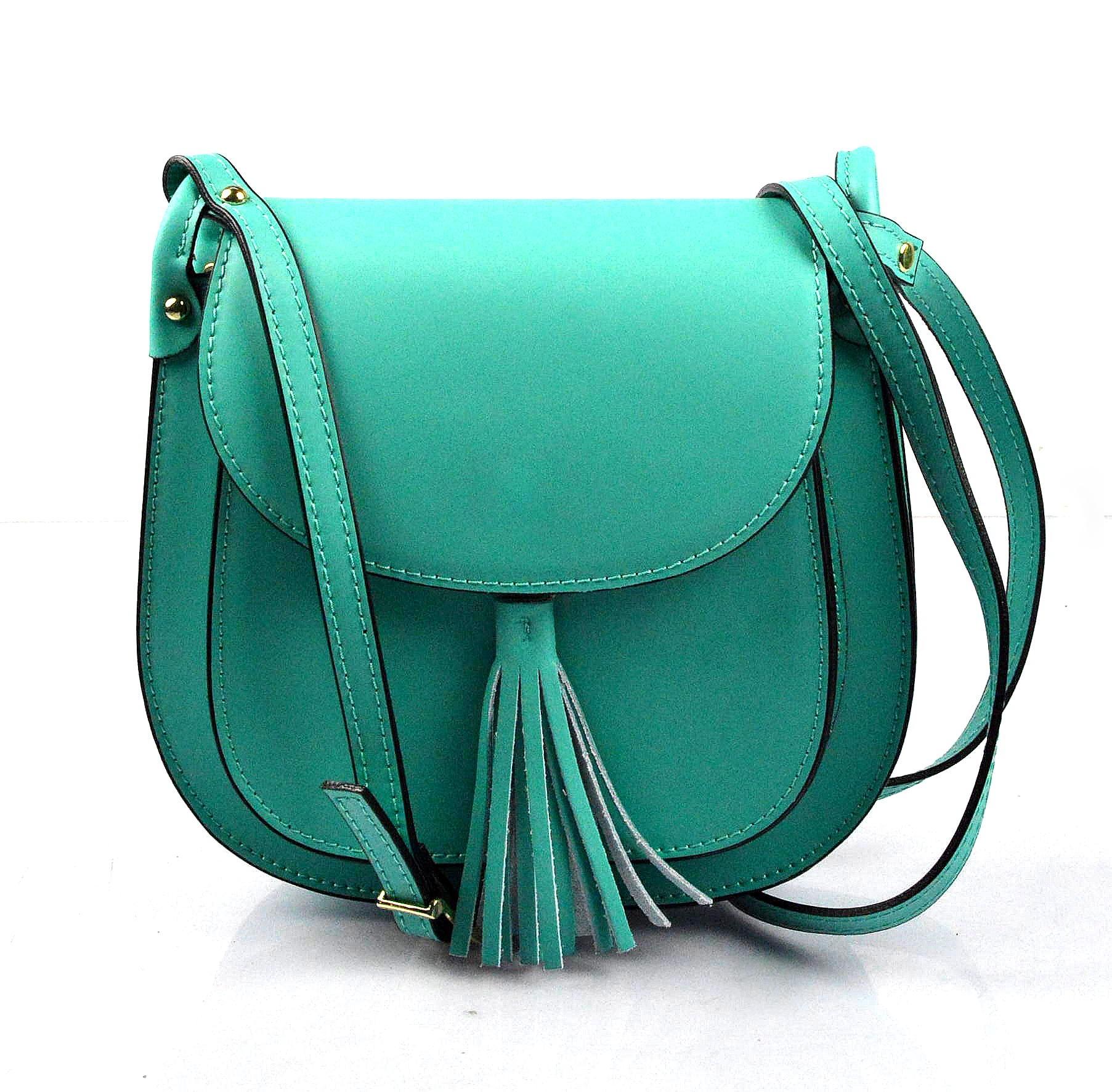 Kožená větší modrá tyrkysová crossbody kabelka na rameno bella
