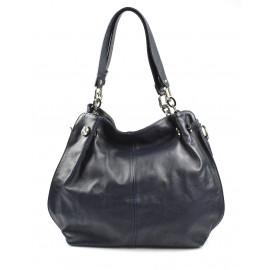 Kožená luxusní tmavě modrá crossbody kabelka do ruky i přes rameno lorreine