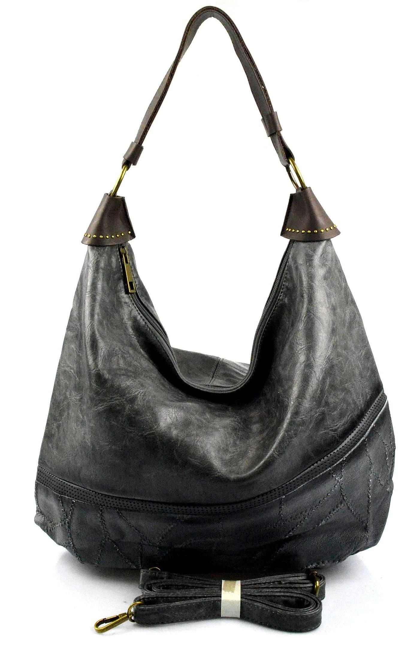Elegantní opravdu velká šedá volnočasová kabelka serena