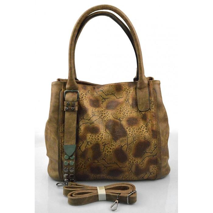 Elegantní menší hnědá brown designová kabelka sergi