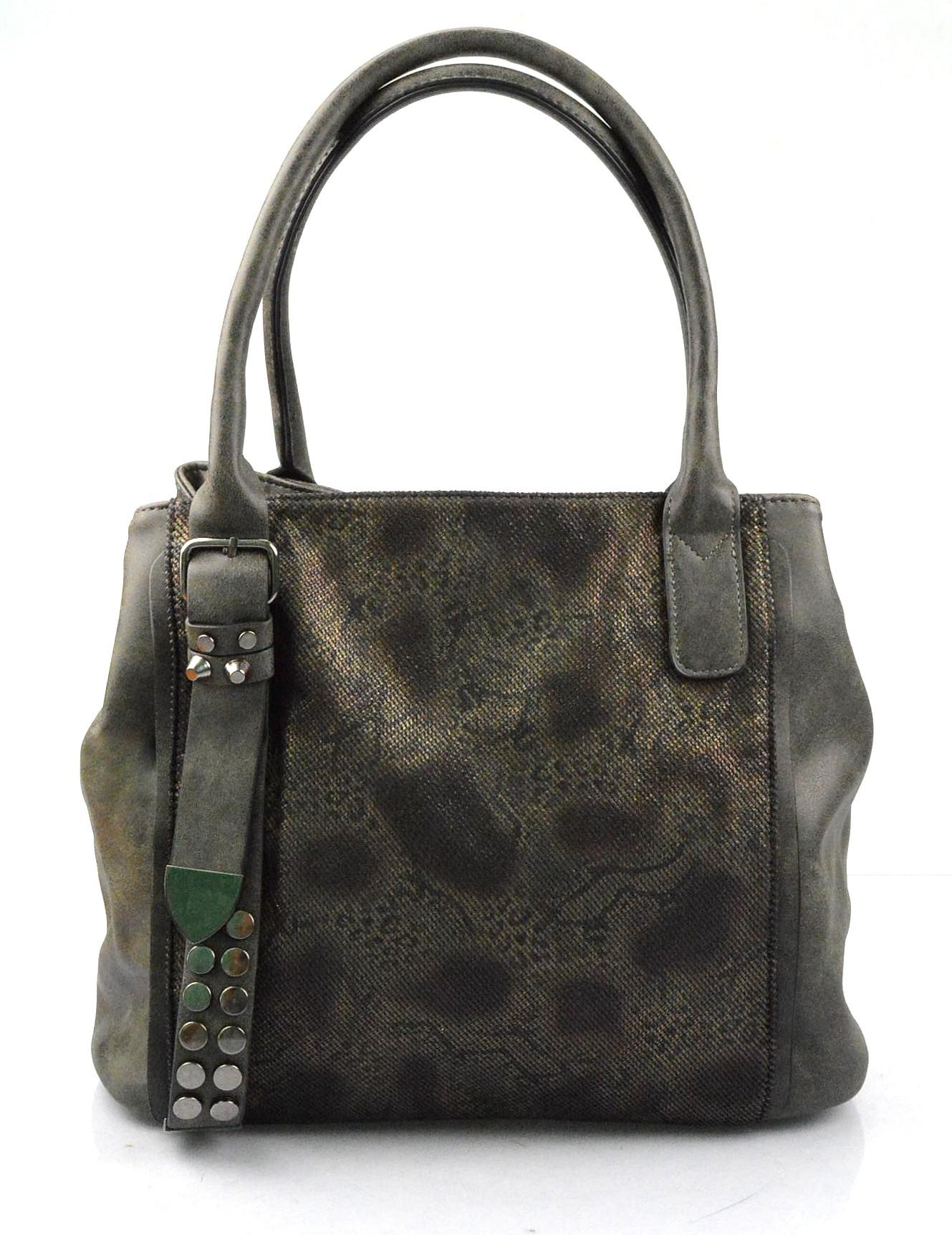 Elegantní menší šedo zelená designová kabelka sergi