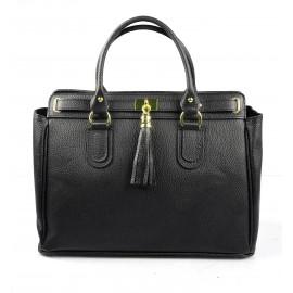 Kožená luxusní černá kabelka do ruky montana