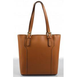 Kožená moderní vysoká hnědá brown kabelka na rameno carine