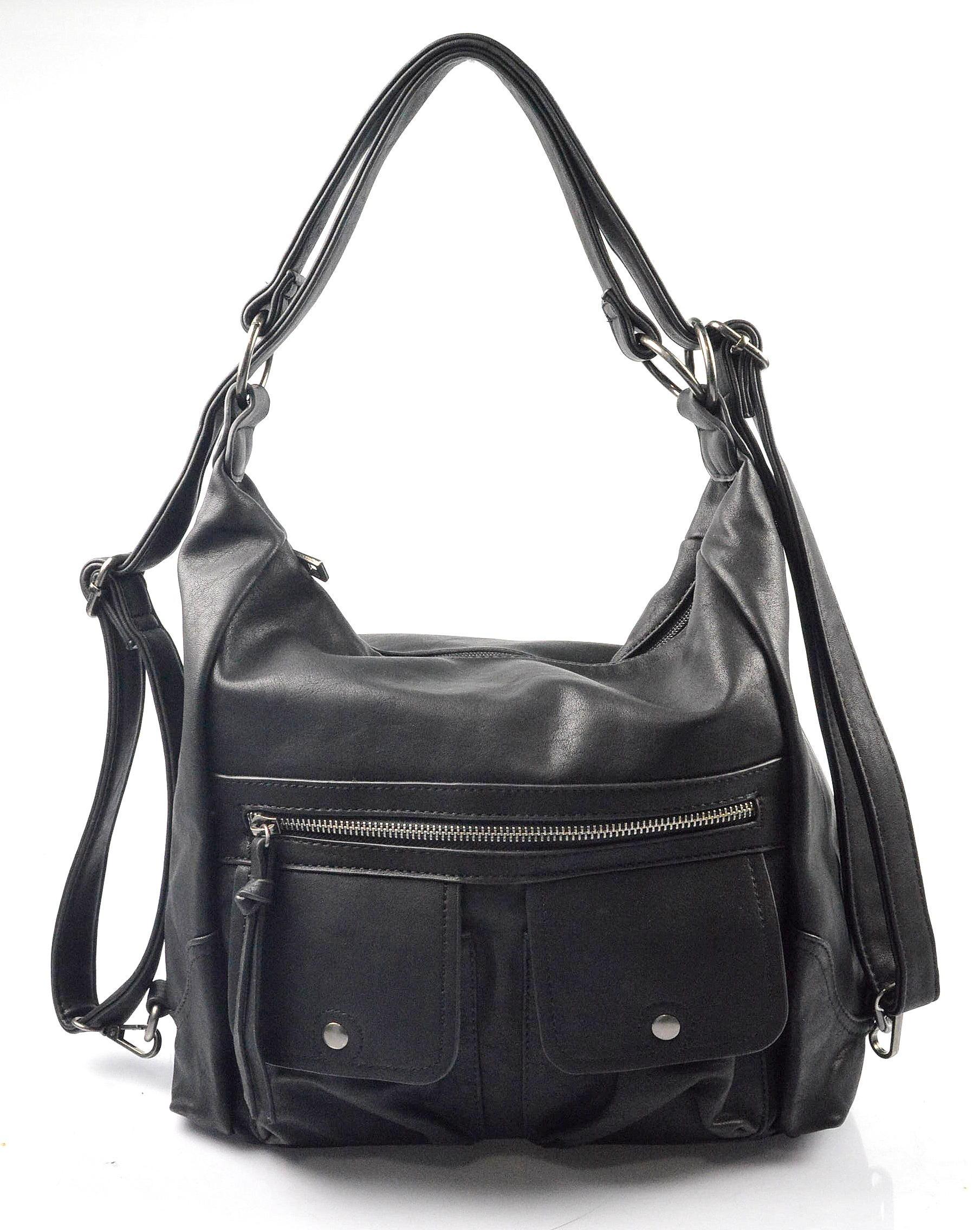 Praktická černá kabelka a batůžek v jednom Marry