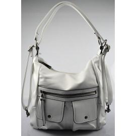 Praktická bílá kabelka a batůžek v jednom Marry