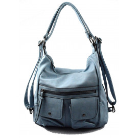 Praktická světle modrá kabelka a batůžek v jednom Marry