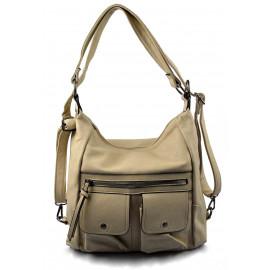 Praktická béžová beige kabelka a batůžek v jednom Marry