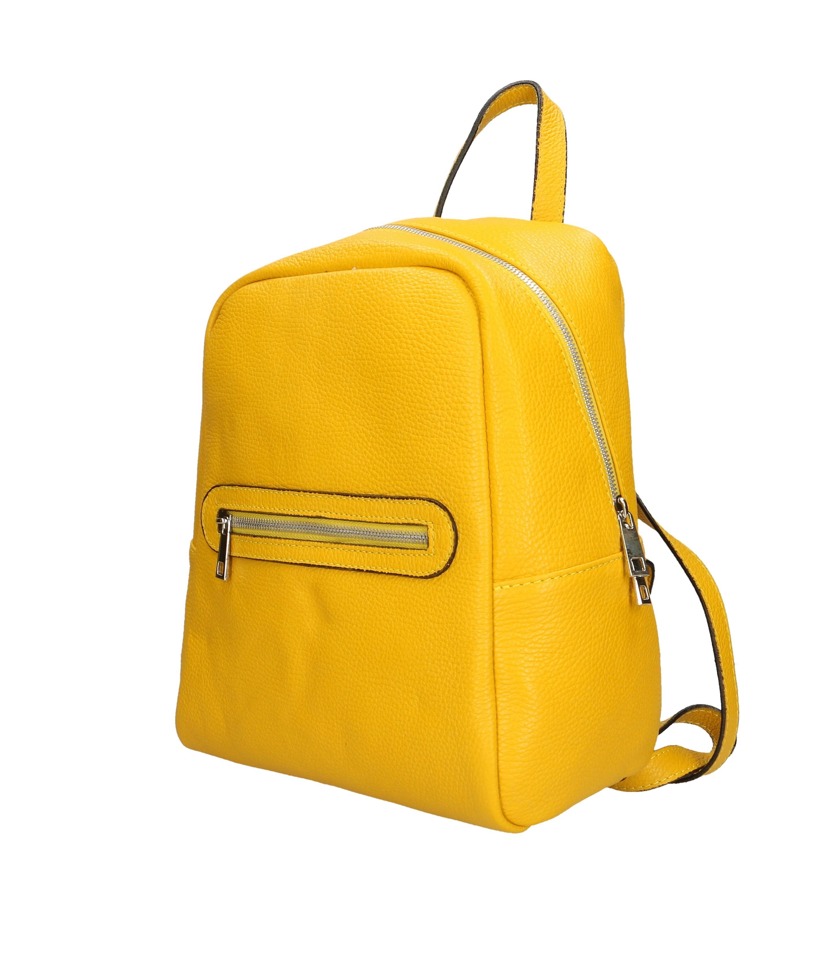 Praktický kožený větší hořčicově žlutý batůžek talis