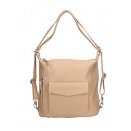 Praktická kožená větší světle růžová kabelka a batoh 2v1 karin