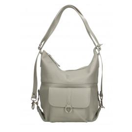 Praktická kožená větší šedá kabelka a batoh v jednom karin two