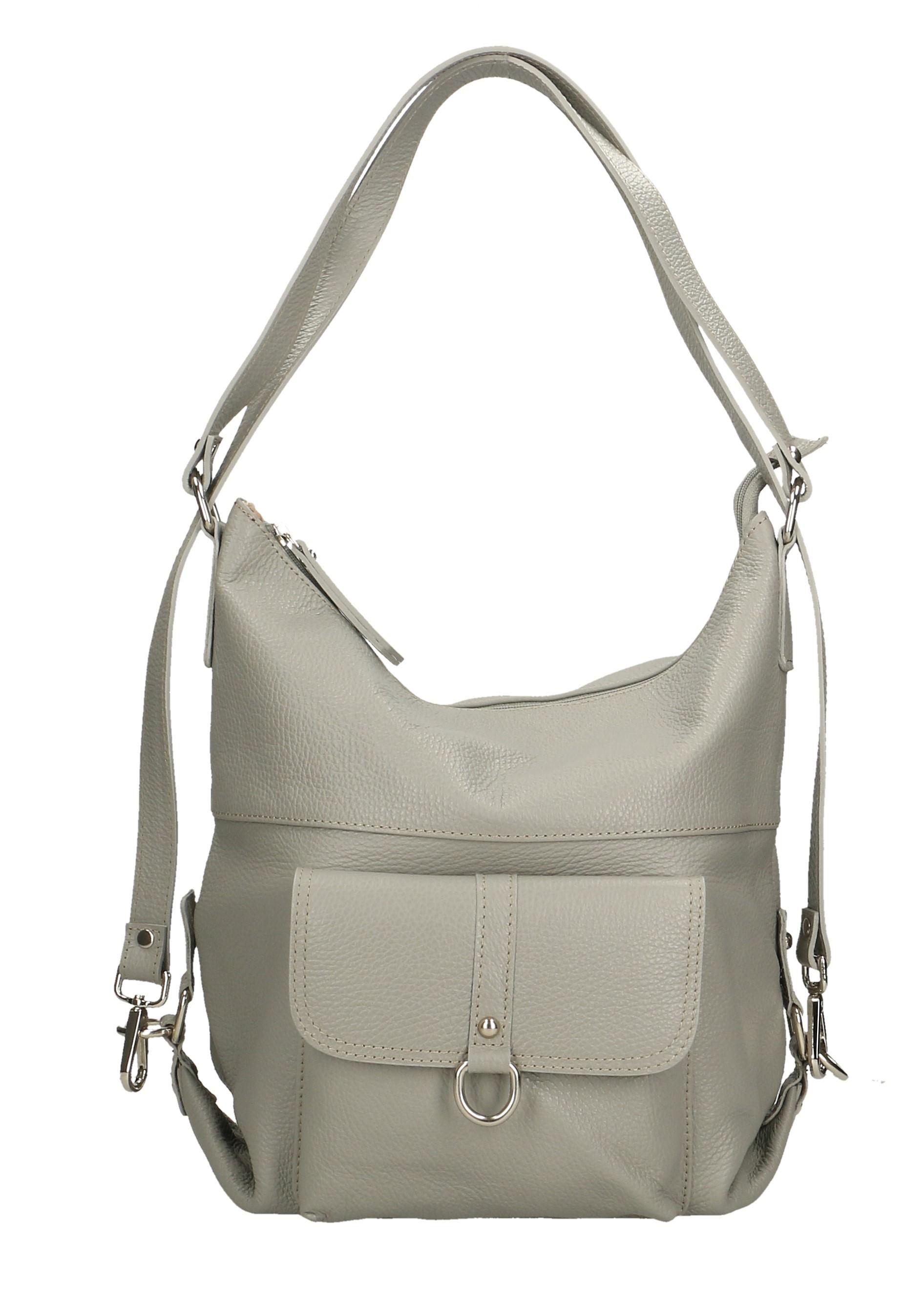 Praktická kožená větší šedá kabelka a batoh 2v1 karin two