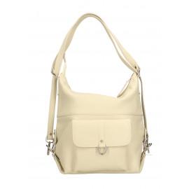 Praktická kožená větší béžová beige kabelka a batoh 2v1 karin two