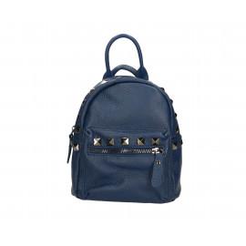 Praktický modrý kožený menší batůžek bernee