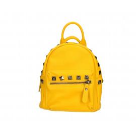 Praktický žlutý kožený menší batůžek bernee